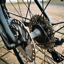 Immaculate Disc Brake and rear wheen after a GC Cycles service