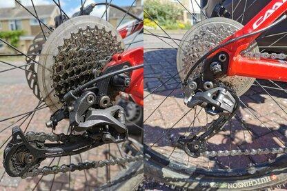 Detailed closeup of a GC Cycles bike drivetrain